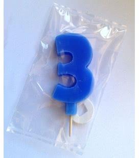 Svíčka celofán - dortová čísla - 3 - modrá