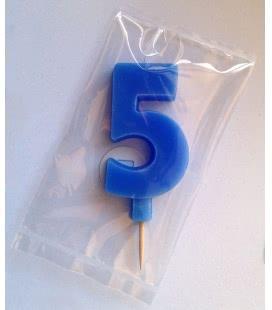 Svíčka celofán - dortová čísla - 5 - modrá