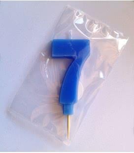 Svíčka celofán - dortová čísla - 7 - modrá