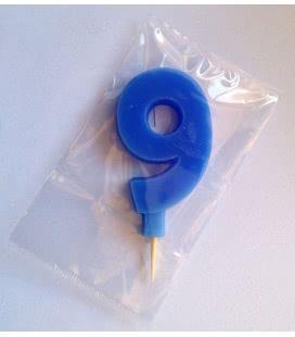 Svíčka celofán - dortová čísla - 9 - modrá
