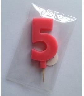 Svíčka celofán - dortová čísla - 5 - růžová