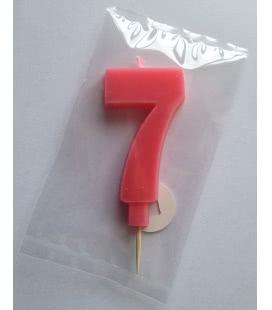 Svíčka celofán - dortová čísla - 7 - růžová