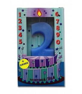 Svíčka - dortová čísla - 2 - modrá