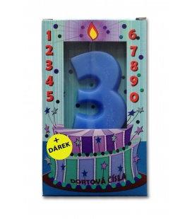 Svíčka - dortová čísla - 3 - modrá
