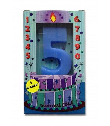 Svíčka - dortová čísla - 5 - modrá