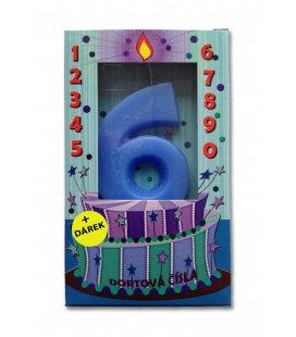 Svíčka - dortová čísla - 6 - modrá