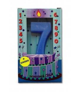 Svíčka - dortová čísla - 7 - modrá