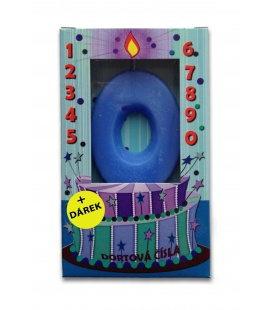 Svíčka - dortová čísla - 0 - modrá