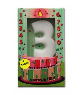Svíčka - dortová čísla - 3 - bílá