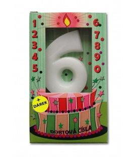 Svíčka - dortová čísla - 6 - bílá