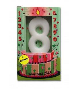 Svíčka - dortová čísla - 8 - bílá