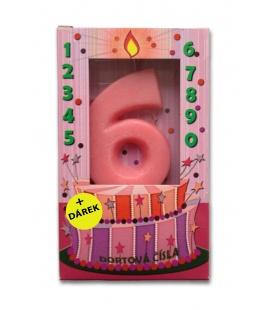 Svíčka - dortová čísla - 6 - růžová