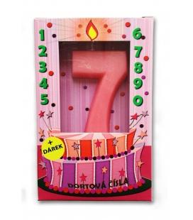Svíčka - dortová čísla - 7 - růžová