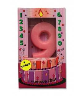 Svíčka - dortová čísla - 9 - růžová