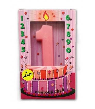 Svíčka - dortová čísla - 1 - růžová