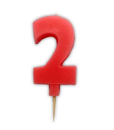 Svíčka nebalená - dortová čísla - 2 - růžová