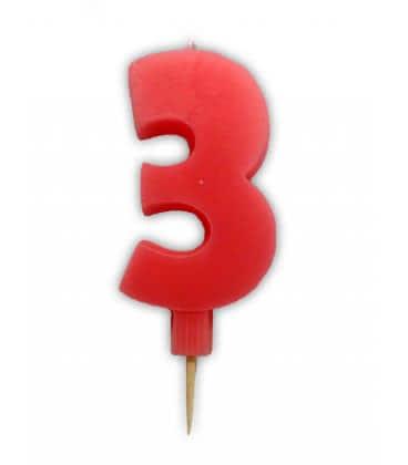 Svíčka nebalená - dortová čísla - 3 - růžová