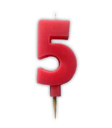 Svíčka nebalená - dortová čísla - 5 - růžová