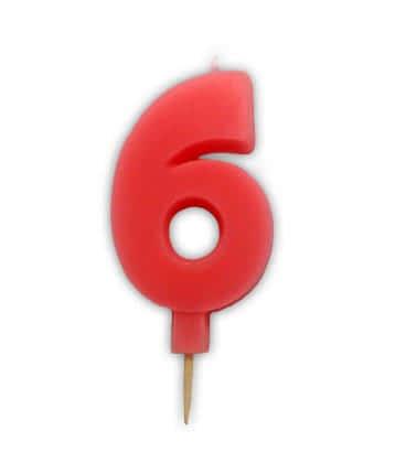 Svíčka nebalená - dortová čísla - 6 - růžová