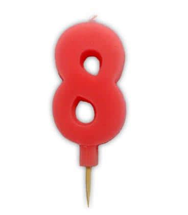 Svíčka nebalená - dortová čísla - 8 - růžová