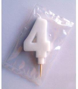 Svíčka celofán - dortová čísla - 4 - bílá
