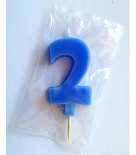 Svíčka celofán - dortová čísla - 2 - modrá