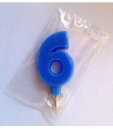 Svíčka celofán - dortová čísla - 6 - modrá