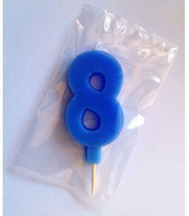 Svíčka celofán - dortová čísla - 8 - modrá