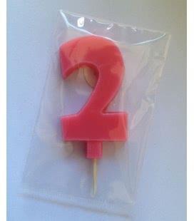 Svíčka celofán - dortová čísla - 2 - růžová