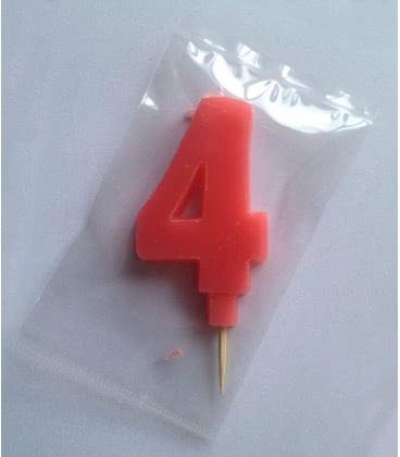 Svíčka celofán - dortová čísla - 4 - růžová