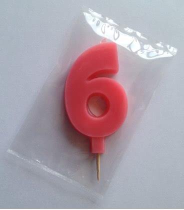 Svíčka celofán - dortová čísla - 6 - růžová