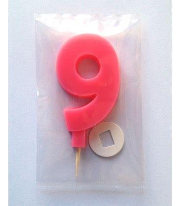 Svíčka celofán - dortová čísla - 9 - růžová