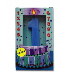 Svíčka - dortová čísla - 1 - modrá