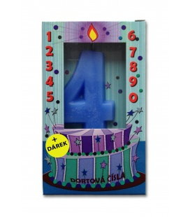 Svíčka - dortová čísla - 4 - modrá
