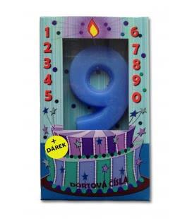 Svíčka - dortová čísla - 9 - modrá