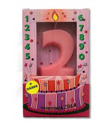 Svíčka - dortová čísla - 2 - růžová