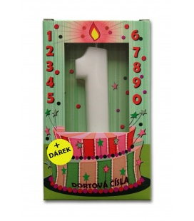 Svíčka - dortová čísla - 1 - bílá