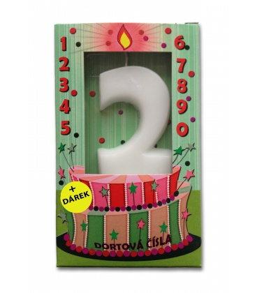 Svíčka - dortová čísla - 2 - bílá