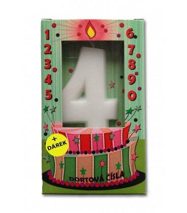 Svíčka - dortová čísla - 4 - bílá
