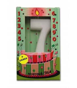 Svíčka - dortová čísla - 7 - bílá