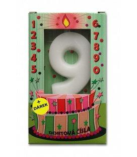 Svíčka - dortová čísla - 9 - bílá