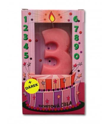 Svíčka - dortová čísla - 3 - růžová