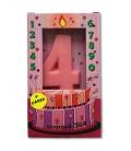 Svíčka - dortová čísla - 4 - růžová