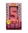 Svíčka - dortová čísla - 5 - růžová