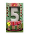 Svíčka - dortová čísla - 5 - bílá