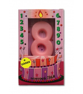 Svíčka - dortová čísla - 8 - růžová